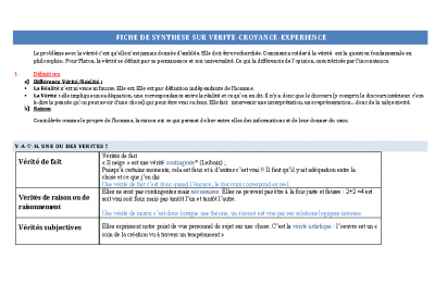 FICHE DE SYNTHESE SUR VERITE – copie 2